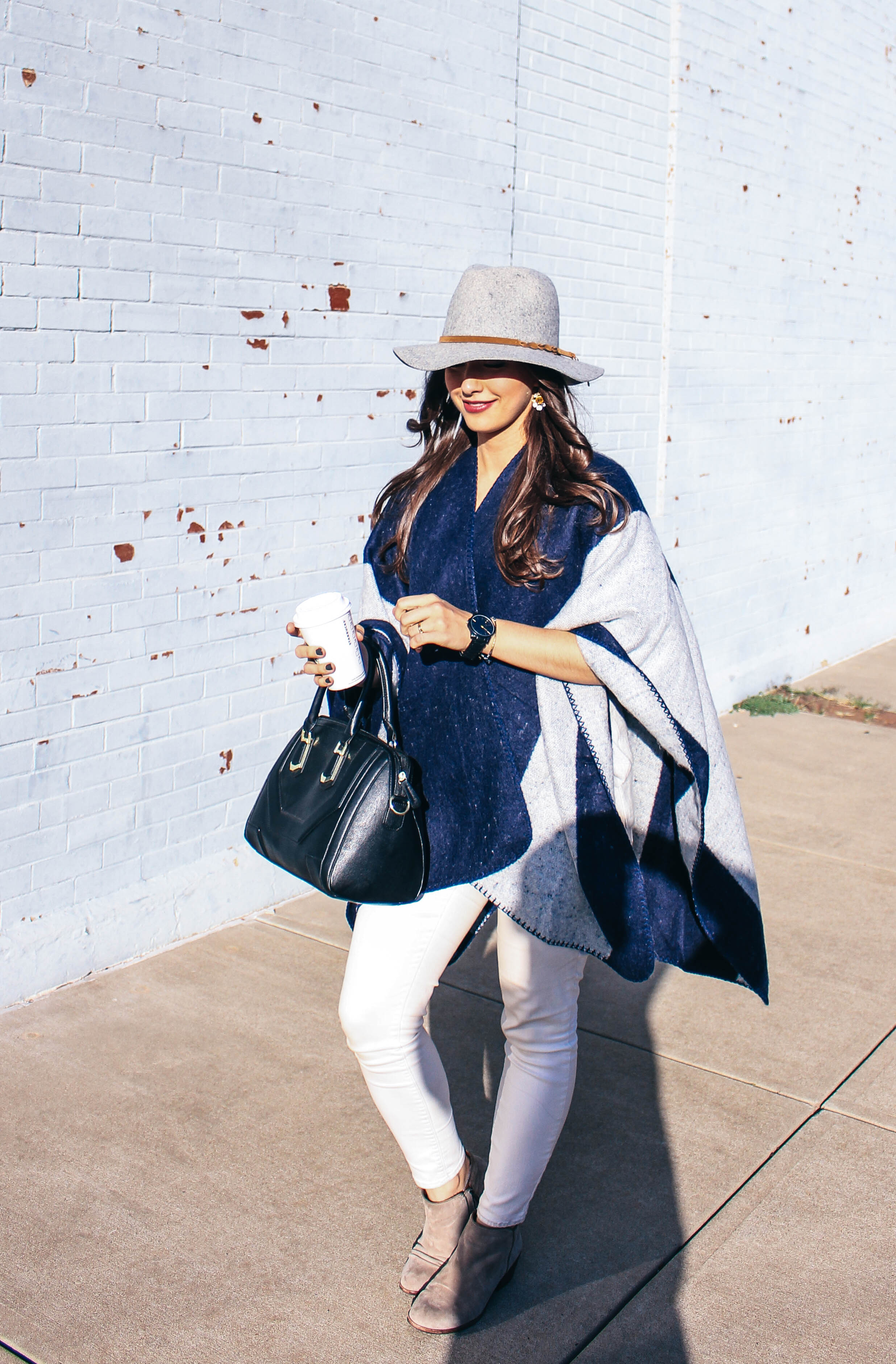 fall style fashion navy stripe cape grey wool fedora