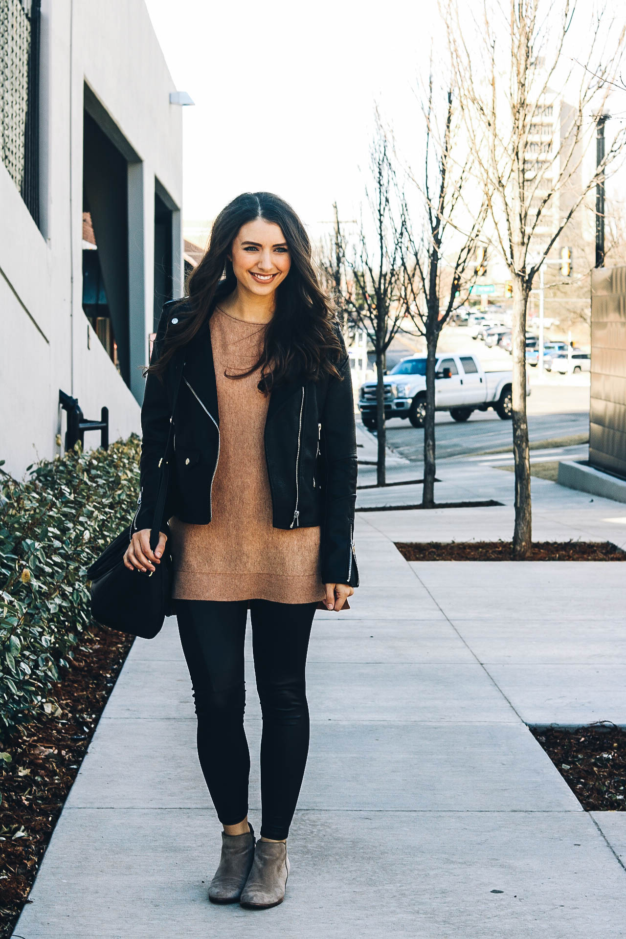 chic comfy  edgy style with faux leather – happily lindsey