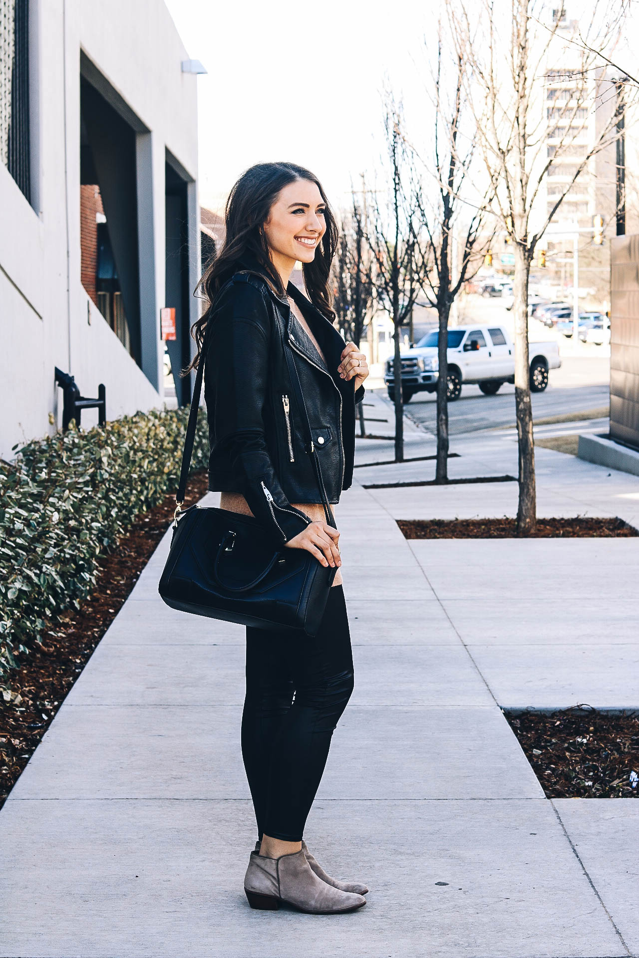 faux leather moto jacket + faux leather leggings // Happily Lindsey blog